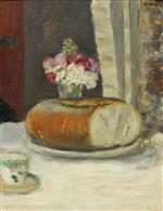 Table Corner (Cup of Coffee. Bread and Flowers)