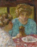 Two Ladies with Cat at the Table (The Two Sisters)