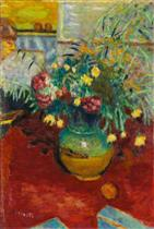 Vase of Flowers with Figure