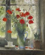 Bouquet of Poppies in Window