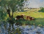 Cows in the Willow's Shade