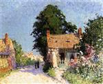 House with Flowers by the Road
