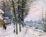 Promenade by the River in the Snow
