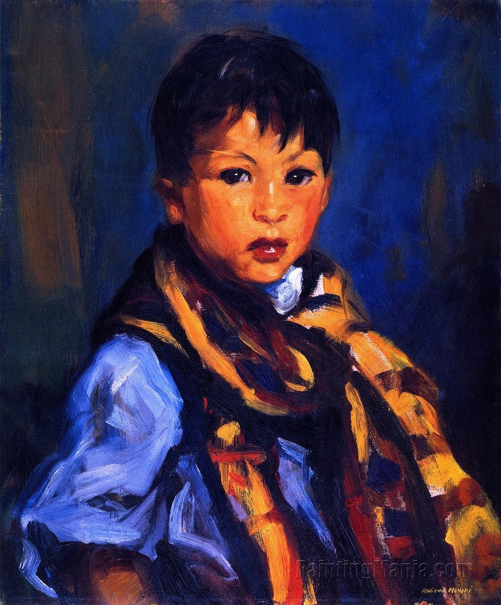 Boy with Plaid Scarf