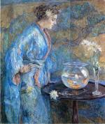 Girl in Blue Kimono