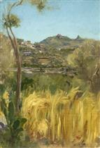 A View in Italy with a Cornfield