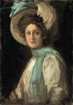 A Lady in Blue and White