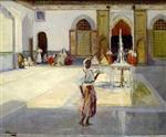 A Moorish Courtyard with Figures
