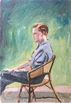 Randolph Churchill, Seated in a Garden Chair