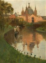 View from the Canal of the Industrial Hall, Kelvingrove, at the First International Exhibition