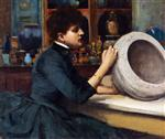 Woman Painting a Pot at the Glasgow International Exhibition