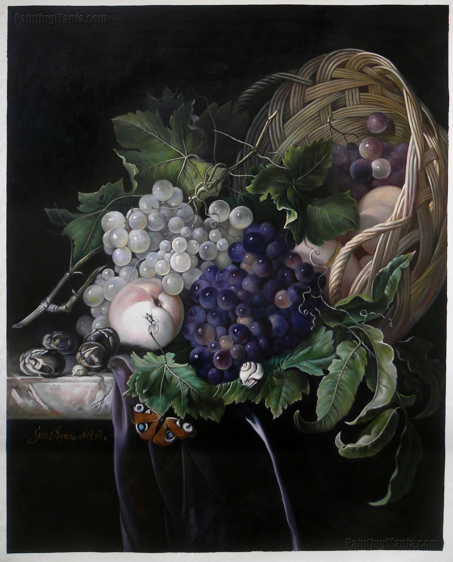 Fruit Still Life (Peaches, Chestnuts and Grapes in an Overturned Basket) by Willem van Aelst