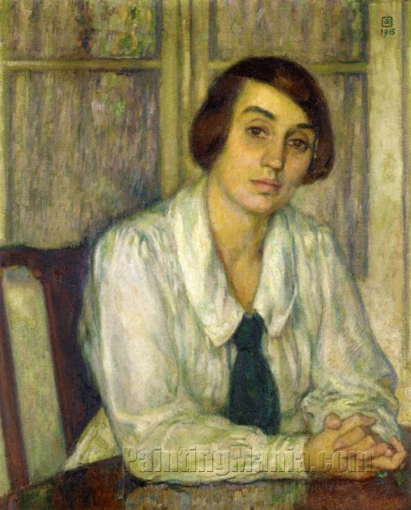 Portrait of Elizabeth van Rysselberghe, Seated with Her Hands on the Table