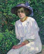 Elisabeth Van Rysselberghe in the Garden, Jersey - Young Girl in the Bush
