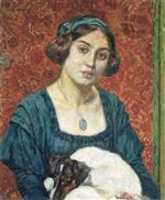 Elisabeth van Rysselberghe met Fox-terrier