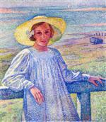 Elisabeth van Rysselberghe in a Straw Hat