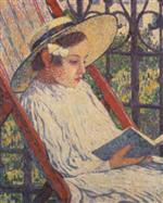Elizabeth Van Rysselberghe Reading on the Balcony