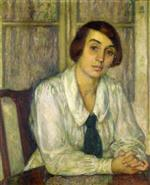 Portrait of Elizabeth van Rysselberghe. Seated with Her Hands on the Table