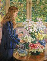 Young Girl with a Vase of Flowers 2