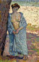 Young Woman in Blue Peignoir