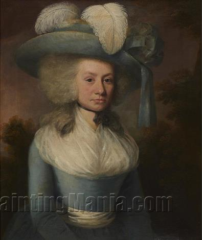 Portrait of a lady with with a feather hat