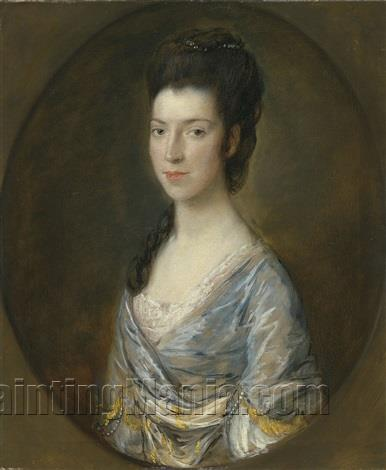 Portrait of a lady, half-length, in a painted oval