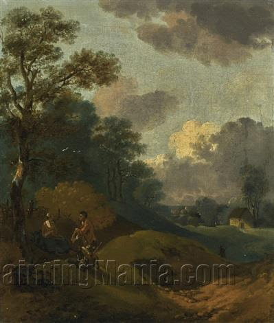 Wooded Landscape with Peasants Resting, and a Distant Cottage