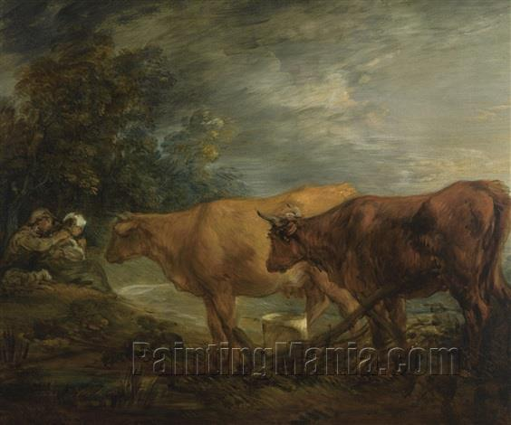 Wooded Landscape with Rustic Lovers and Two Cows