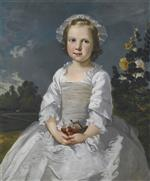 Portrait of a Girl with Cherries, Sitting in a Landscape