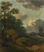 Wooded Landscape with Peasants Resting. and a Distant Cottage