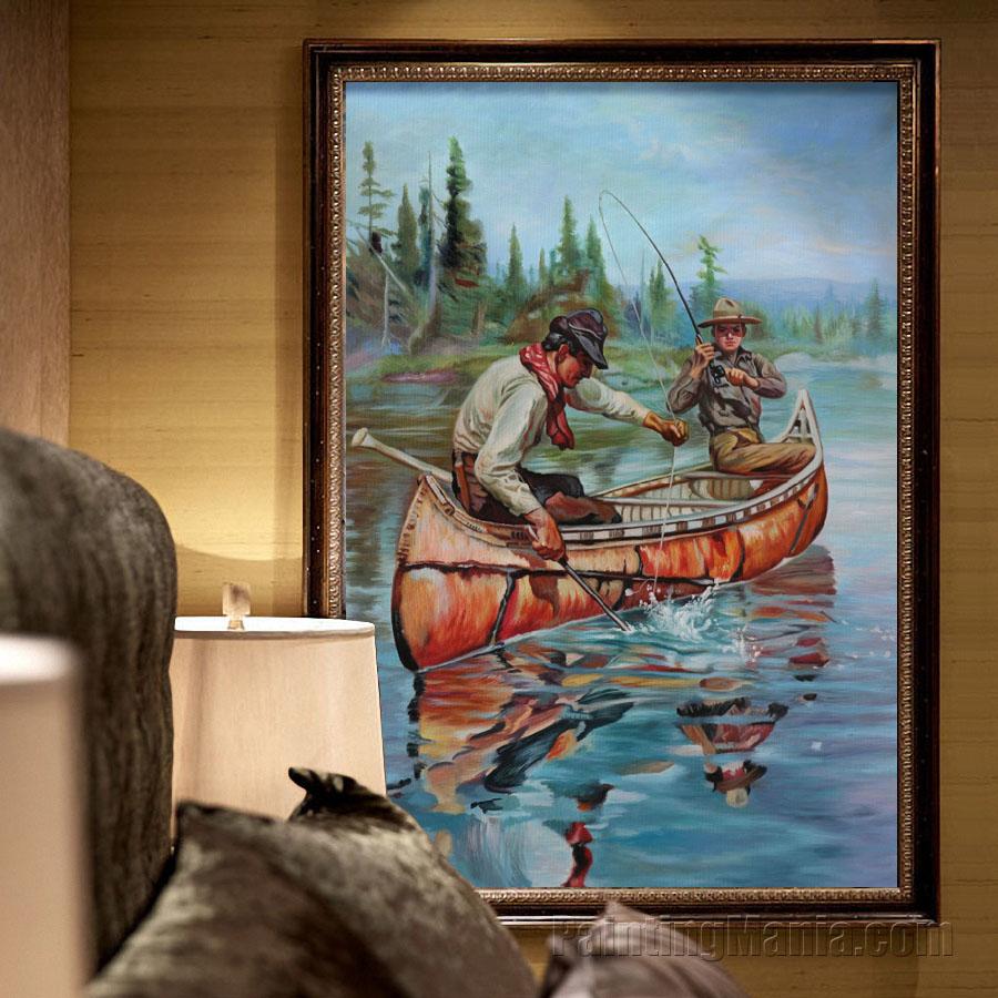Two Fishermen in a Birch Canoe