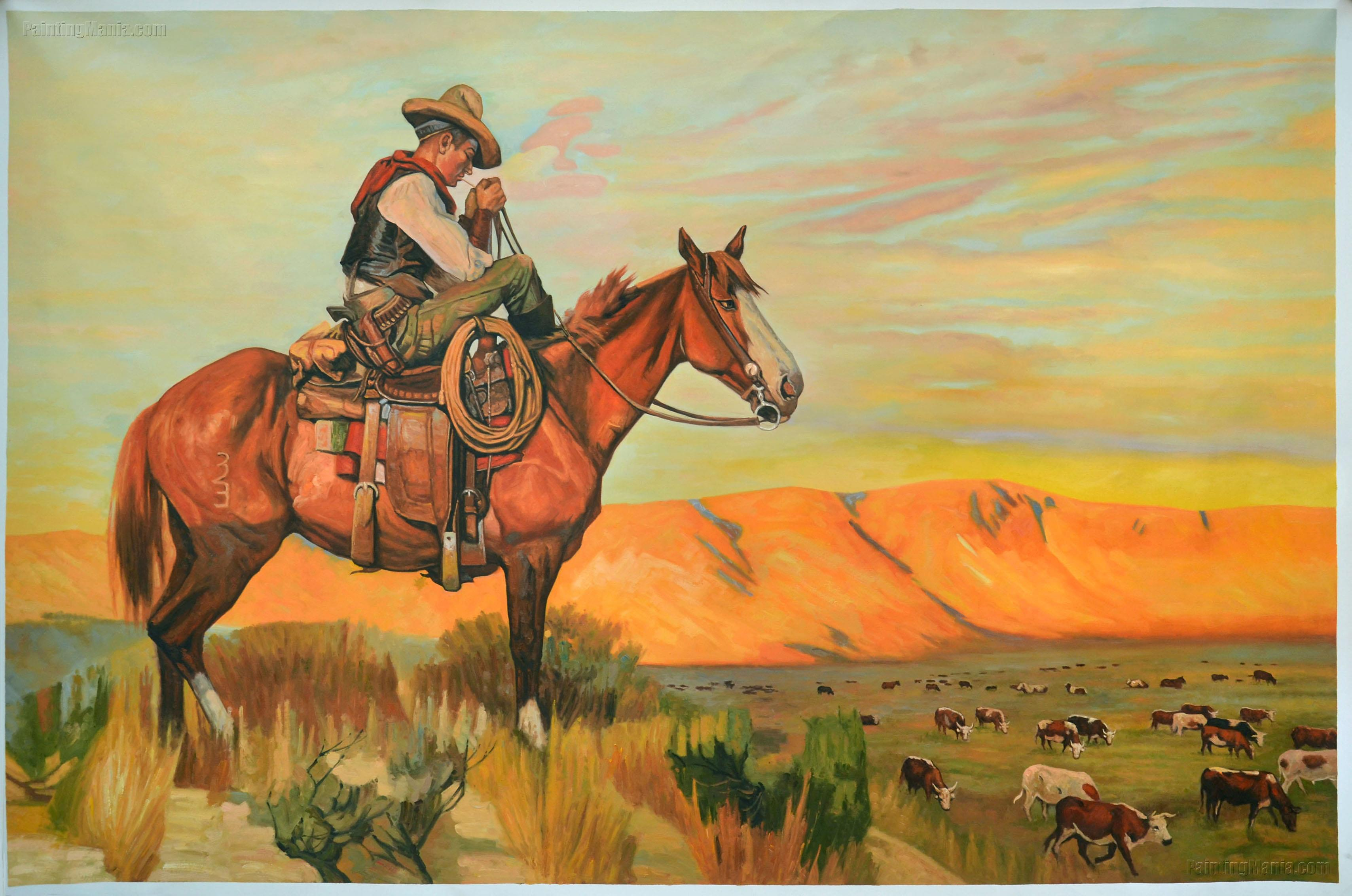 Cowboy Rancher On Horse Cattle