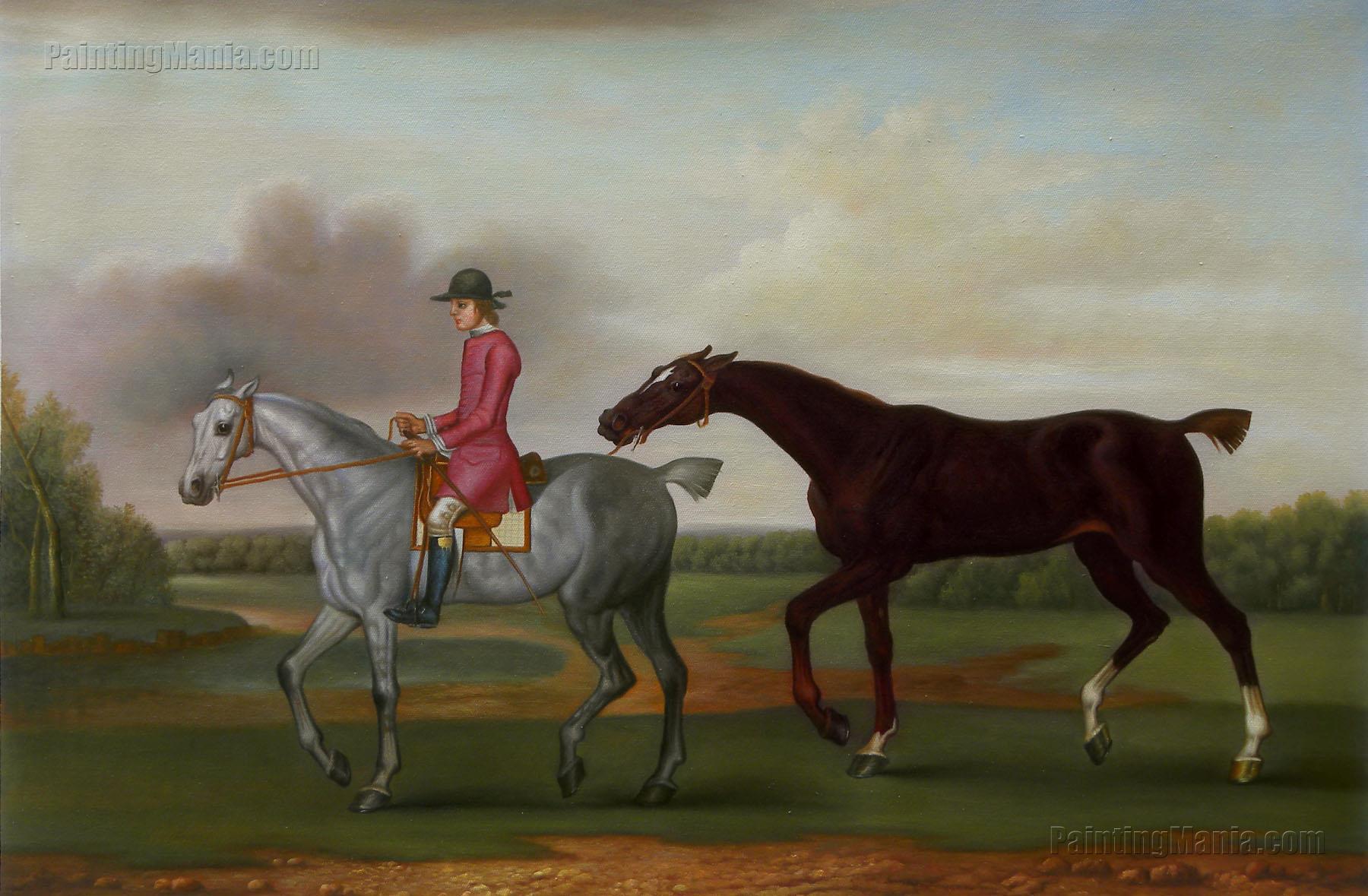 The Duke of Kingston's liver chestnut racehorse 'Jolly Roger'