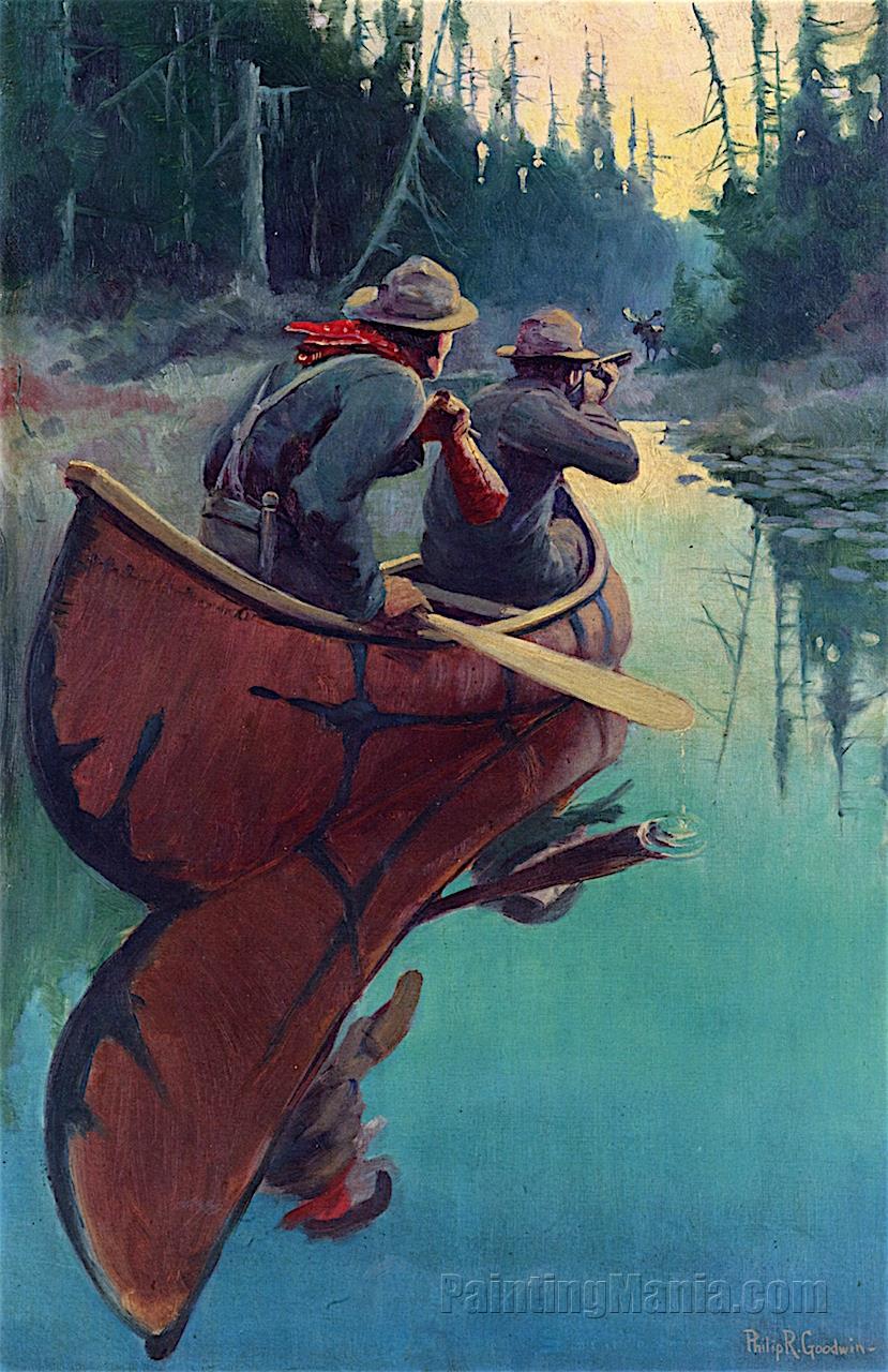 Hunters in a Canoe
