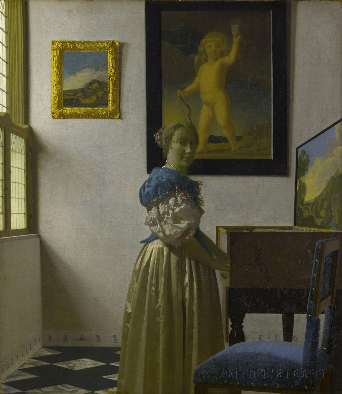 A Lady Standing at a Virginal