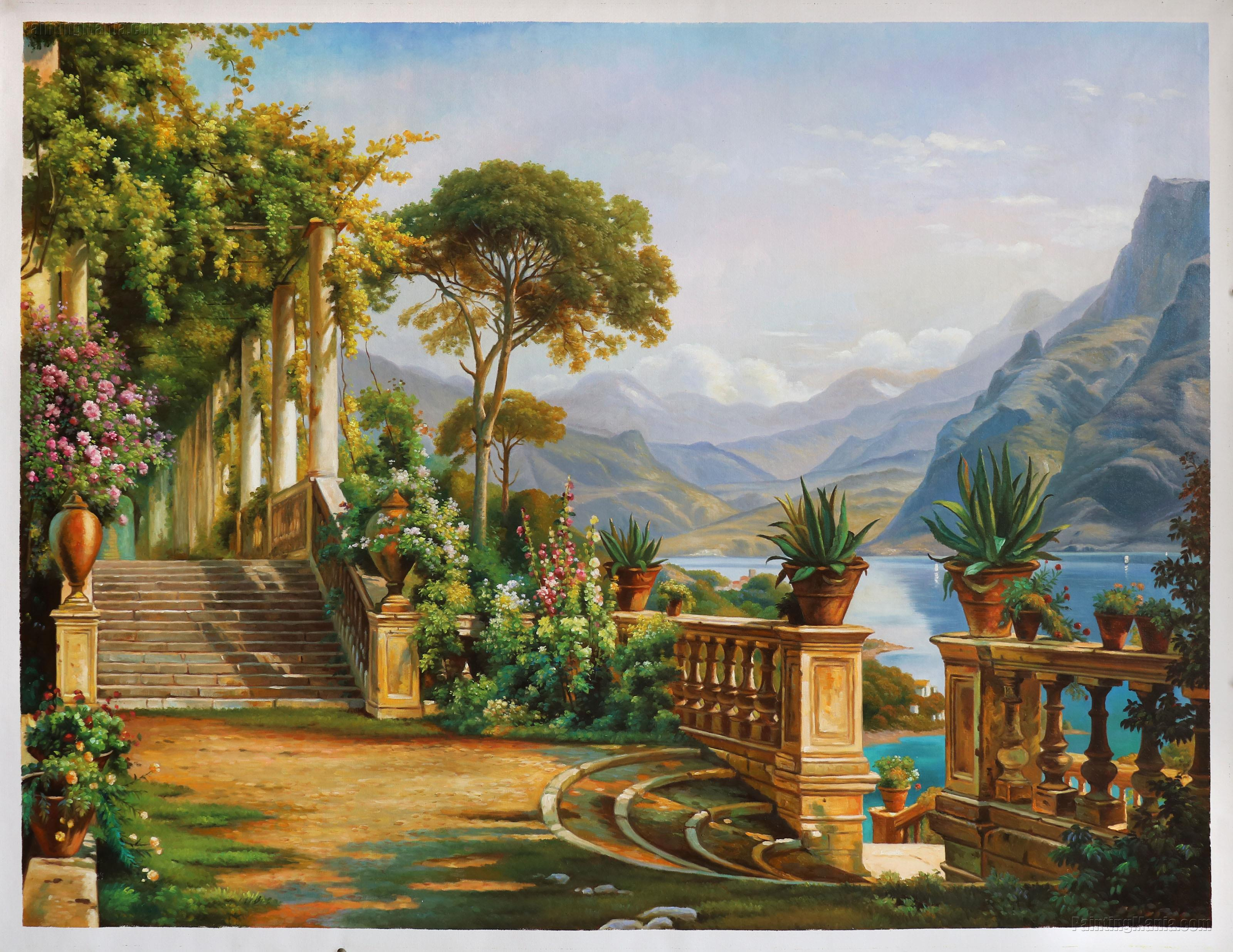 The Lodge on Lake Como (Terrace on the Lake) by Carl Frederik Aagaard