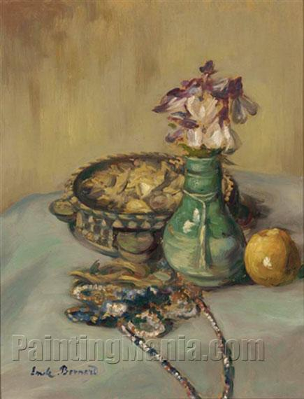 nature morte au tambourine et vase de fleurs emile bernard paintings. Black Bedroom Furniture Sets. Home Design Ideas