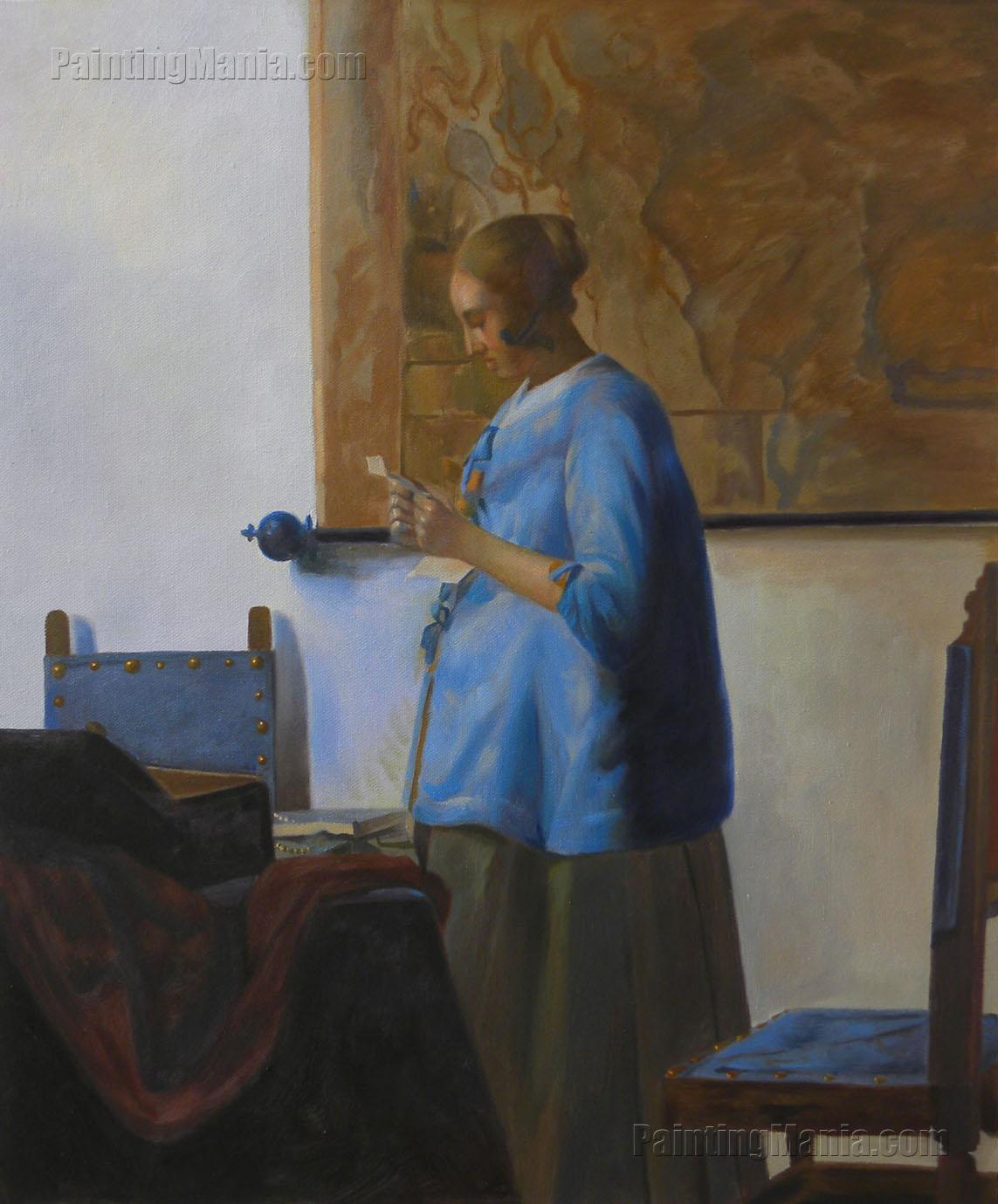 woman in blue reading a letter in blue reading a letter johannes vermeer paintings 25664 | woman blue reading letter 56 13148