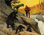 Bear with Cubs Hunters Canoe