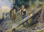 A Cowboy Clearing a Trail