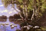 Elf Enten Unter Birken Und Im Wasser (Eleven Ducks)