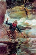 Fisherman By Stream