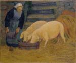 Girl Feeding Two Piglets