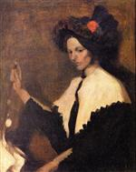 Girl with White Shawl Collar