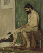Homme barbu assis, academie