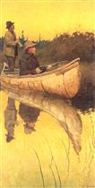 An Indian Guide with moose call and a Hunter with Rifle at the Ready in a Birch Bark Canoe