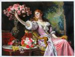Lady in a Pink Dress with Flowers (Dame with azalias)