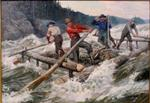 Logging Scene with Five Men