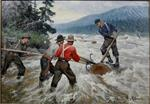 Logging Scene (Loggers Floating Down River)