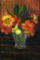 Nasturtiums in a Glass Vase